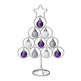 Purple, Silver & White Glitter Wire Tree Table