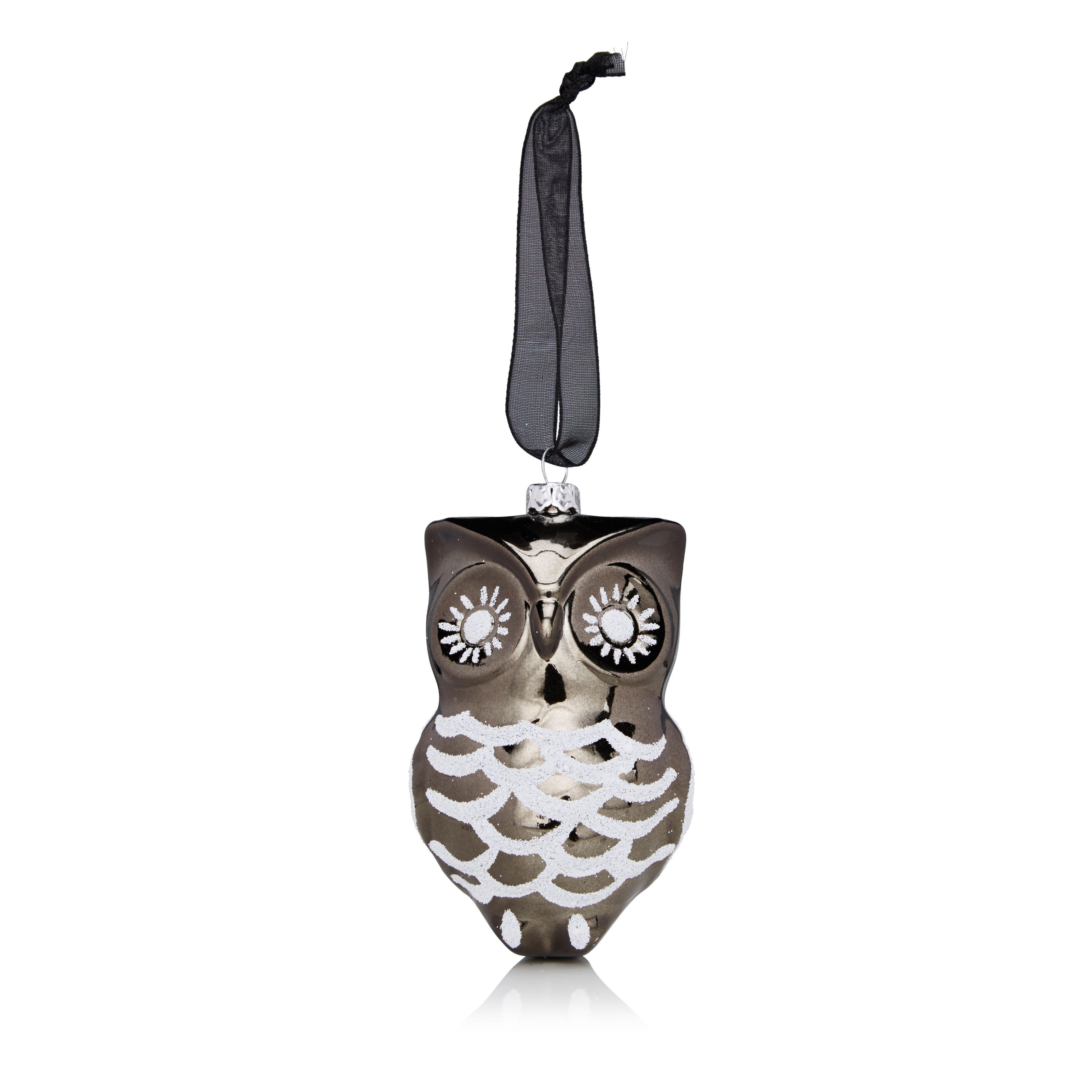 Glitter Decorated Grey & White Owl Tree Decoration