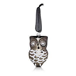 Glitter Decorated Grey & White Owl Tree Decoration