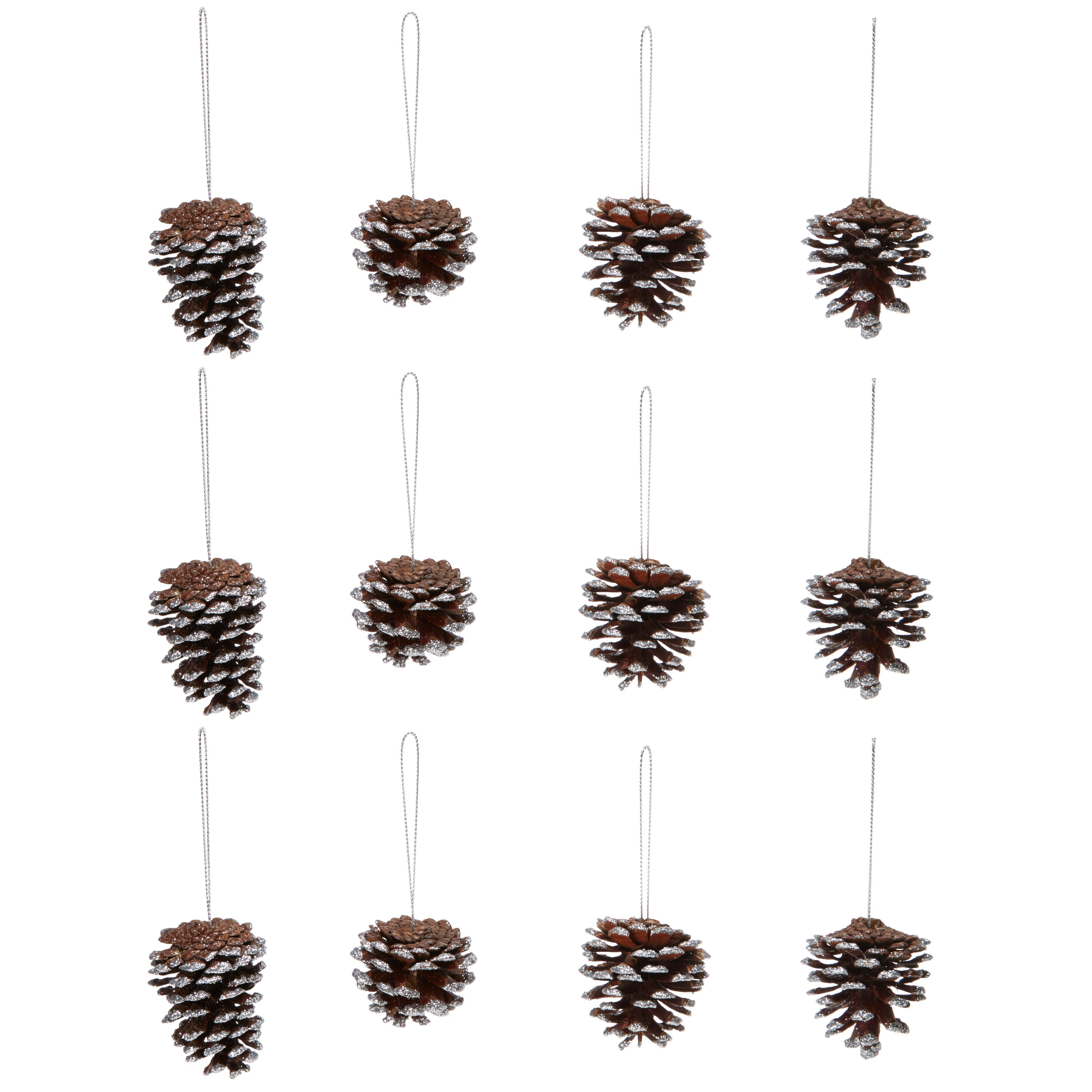 Glitter Silver Pine Cone Tree Decoration, Pack Of 12