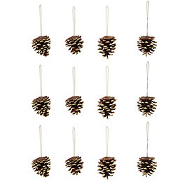Glitter Gold Pine Cone Tree Decoration, Pack of