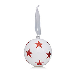 Glitter Decorated White & Red Star Bauble
