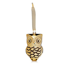 Glitter Decorated Grey & Gold Owl Tree Decoration