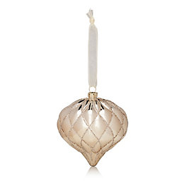 Glitter Decorated Champagne Onion Bauble