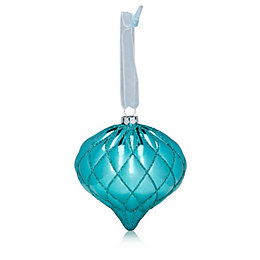 Glitter Decorated Teal Onion Bauble