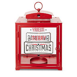 Merry Christmas Red Gloss Square Glass & Metal
