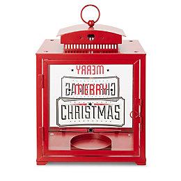 Merry Christmas Red Gloss Square Glass & Metal