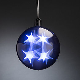 Battery Operated LED Holographic Star Grey Bauble