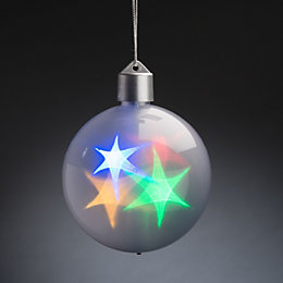 Battery Operated LED Holographic Star White Bauble
