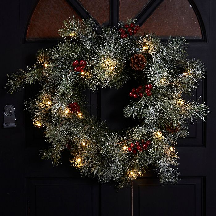 Fairview green and red LED wreath