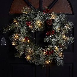 Fairview Green & Red LED Wreath, (L)56cm, (D)560mm