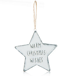 Distressed Finish White Warm Xmas Wishes Star Tree