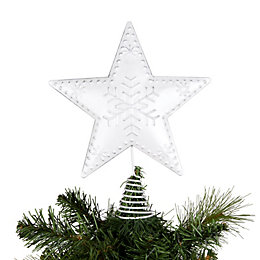 Distressed Finish Silver Star Tree Topper
