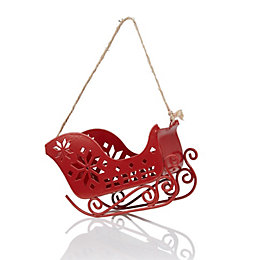 Red Santa Sleigh Tree Decoration
