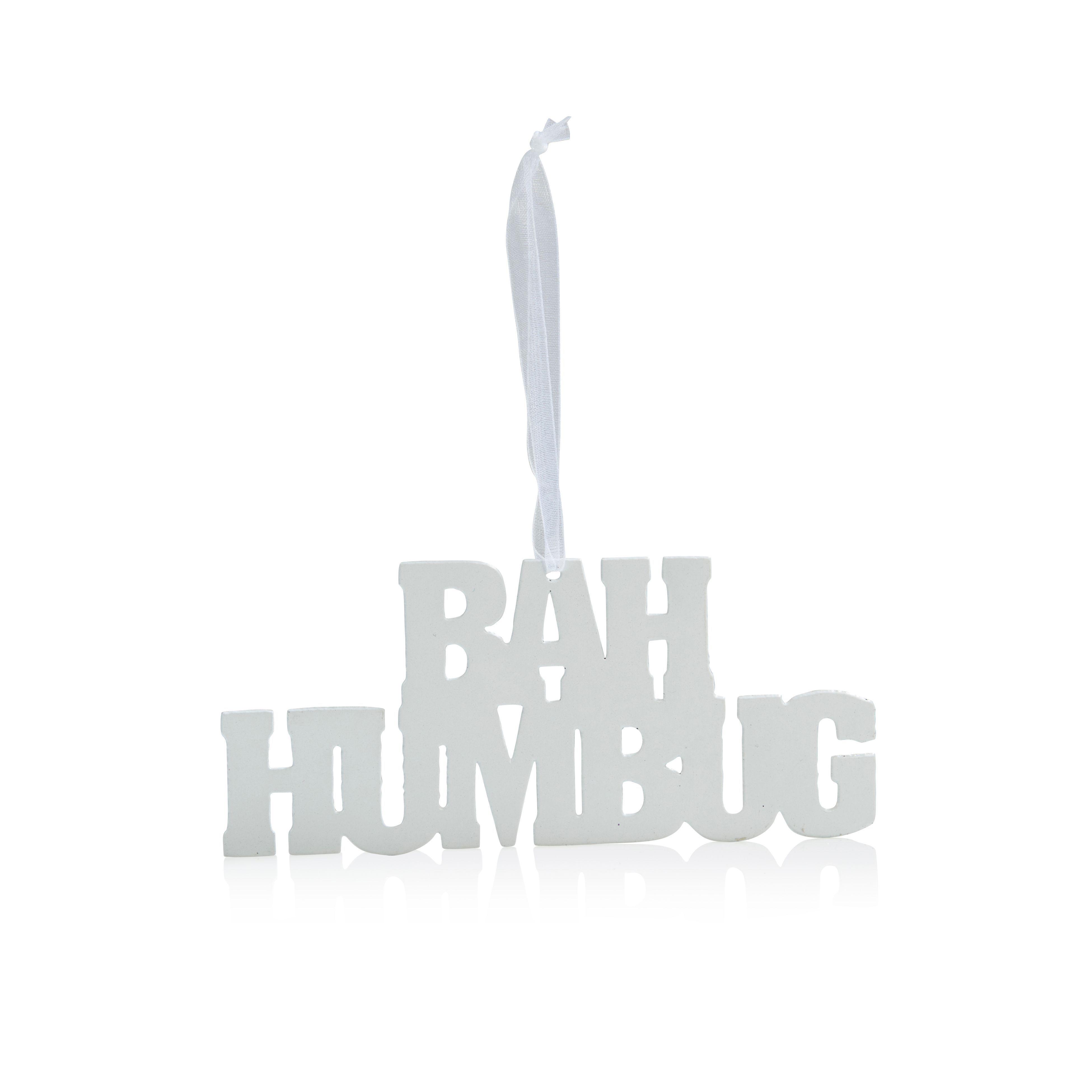 Metal White Bah Humbug Tree Decoration
