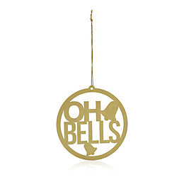 Metal Gold Oh Bells Tree Decoration