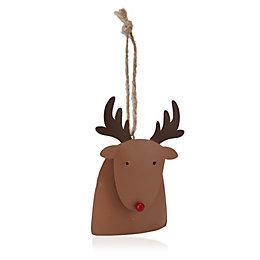 Metal Bell Nosed Reindeer Tree Decoration