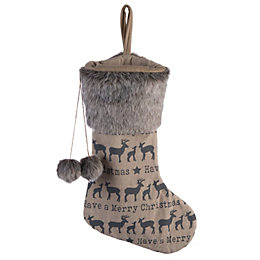 Reindeer Family Pom Pom Stocking with Faux Fur
