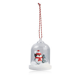 Snowglobe Effect Glass Bell Penguin Tree Decoration