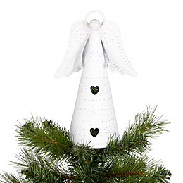 Distressed Finish White Angel Tree Topper