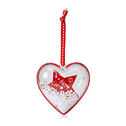 Red & White Clear Filled Heart Tree Decoration