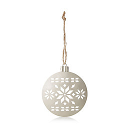 Champagne Metal Cutout Bauble Tree Decoration