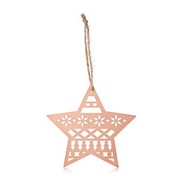 Copper Metal Cutout Star Tree Decoration