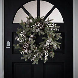 Winterfold Green & Silver Effect Wreath, (D)500mm