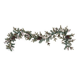 Winterfold Green & Silver Effect Garland, (L)183cm
