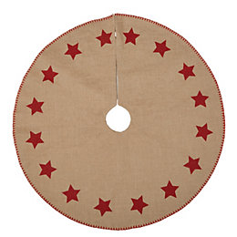 Hessian with Red Stars Tree Skirt