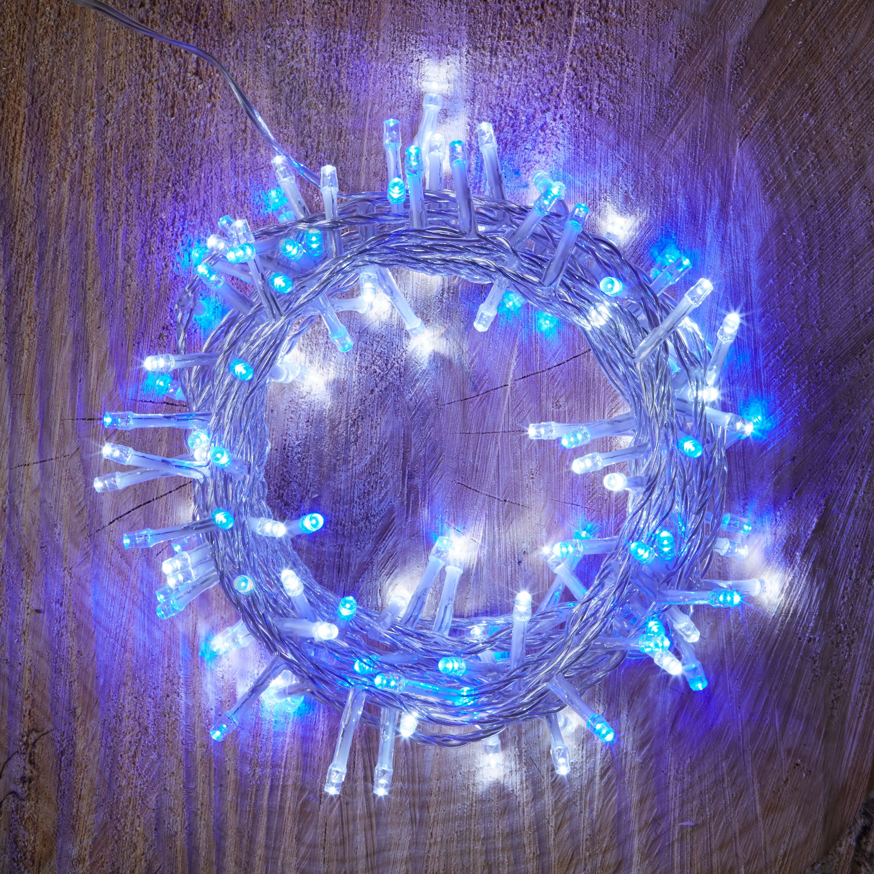120 Blue & White LED String Lights Departments DIY at B&Q