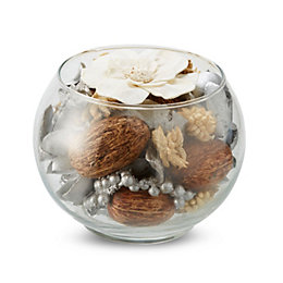 Silver Potpourri In A Glass Bowl