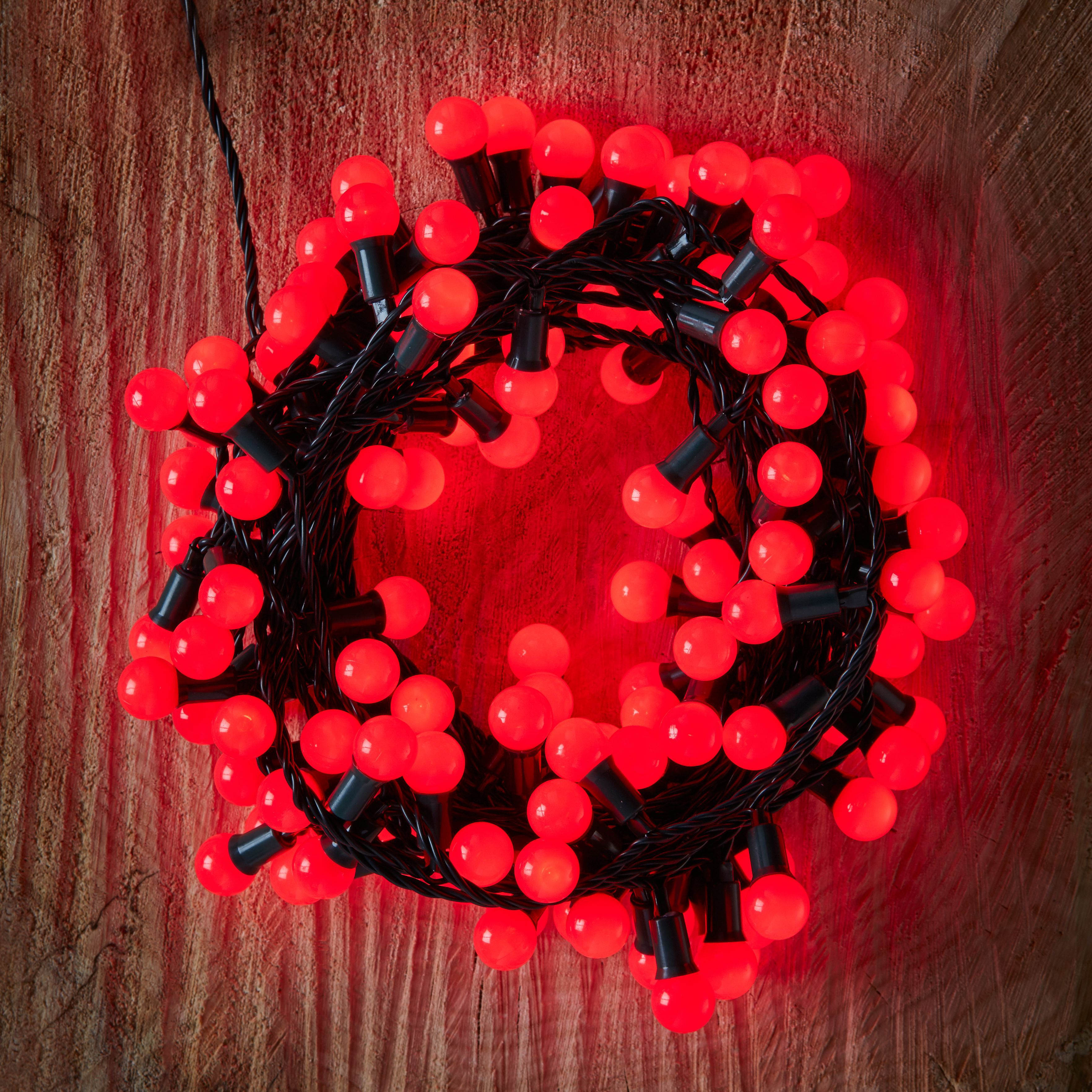 240 Red LED Berry Bulb String Lights Departments DIY at B&Q