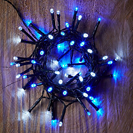 Battery Operated 50 Blue & White LED String