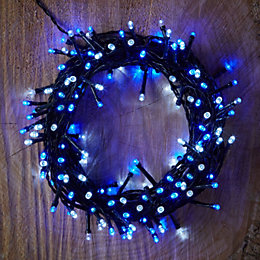 Battery Operated 120 Blue & White LED String