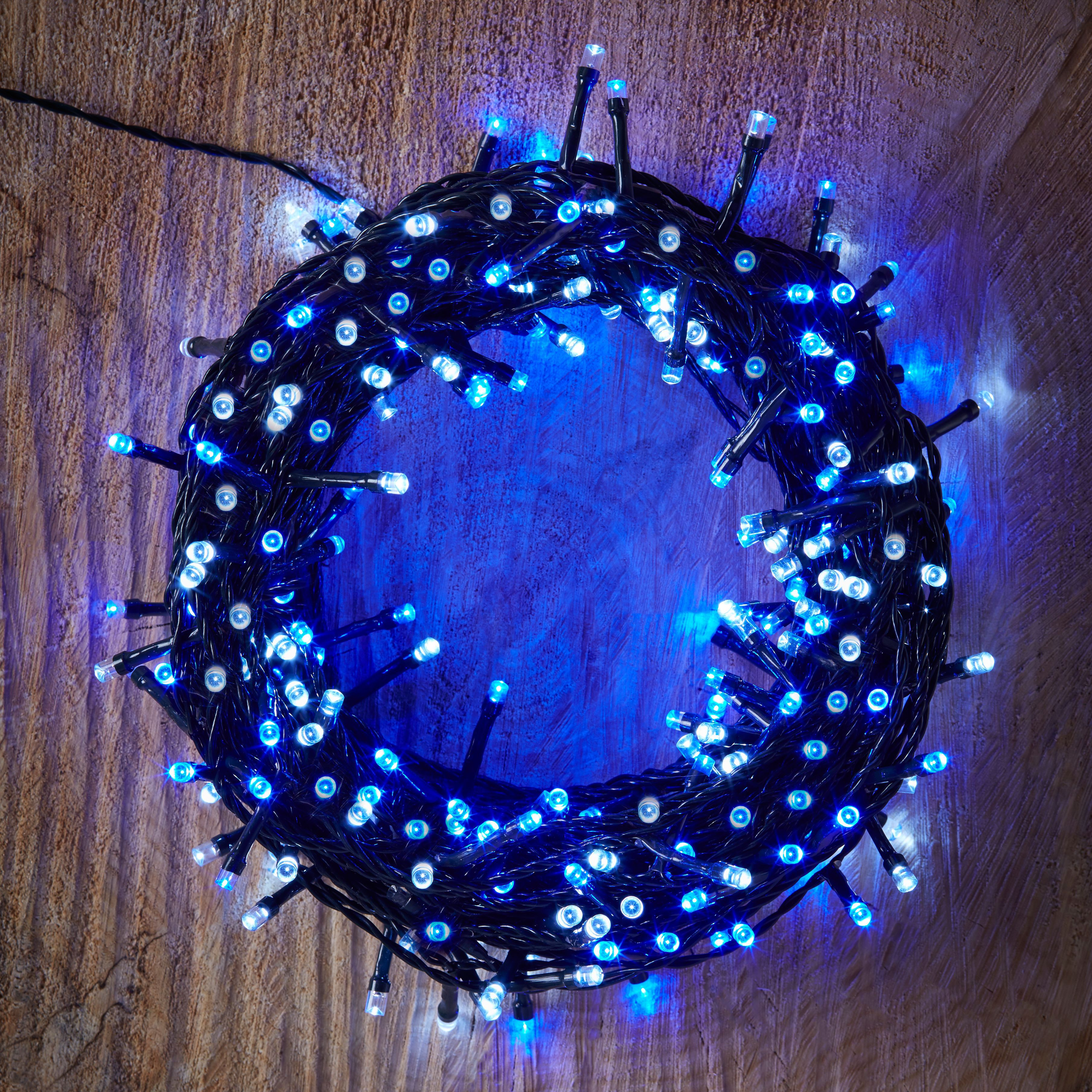 Battery Operated 240 Blue & White LED String Lights Departments DIY at B&Q