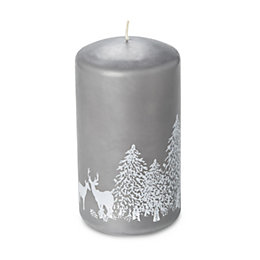 Grey Woodland Print Candle
