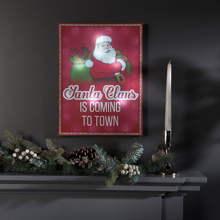 Shop Battery Operated LED Santa Claus Canvas