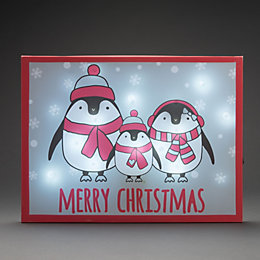 Battery Operated LED Penguin Family Canvas