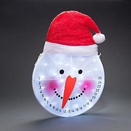 Battery Operated LED Snowman Countdown Face Window Silhouette
