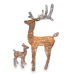 LED Glitter Reindeer Daddy & Baby Silhouette