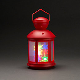 Battery Operated LED Holographic Star Red Lantern