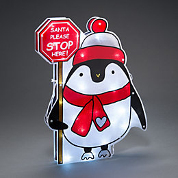 Battery Operated LED Penguin Stop Here Window Silhouette