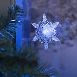 Battery Operated LED Snowflake Window Sucker Indoor Silhouette