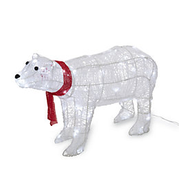 LED 3D Glitter Rattan Polar Bear Large Silhouette