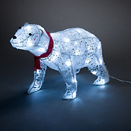 LED 3D Glitter Rattan Polar Bear Small Silhouette