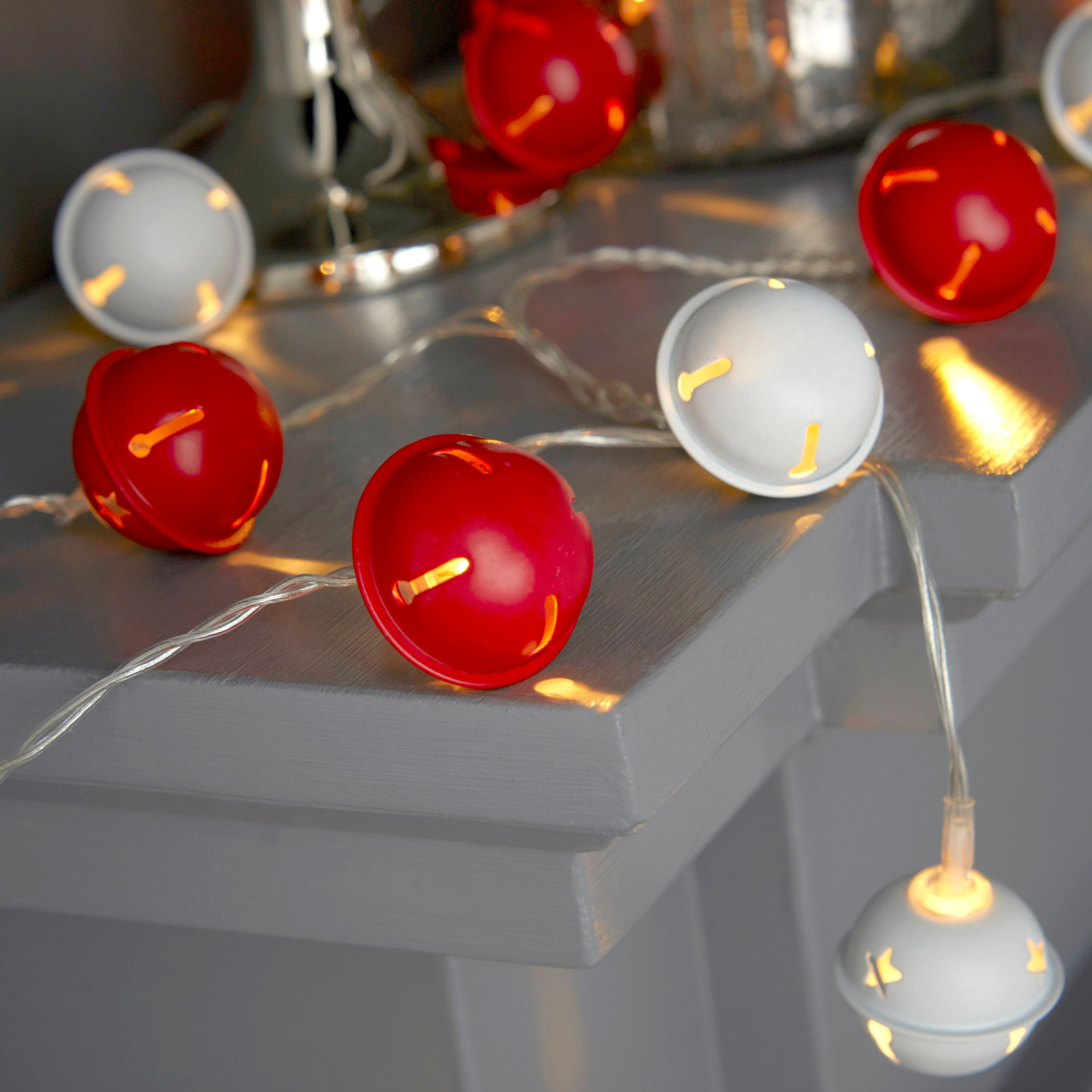 Led String Lights Diy : Battery Operated 20 Warm White LED Red & White Bells String Lights Departments DIY at B&Q