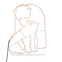 LED Polar Bear Mummy & Baby Rope Silhouette