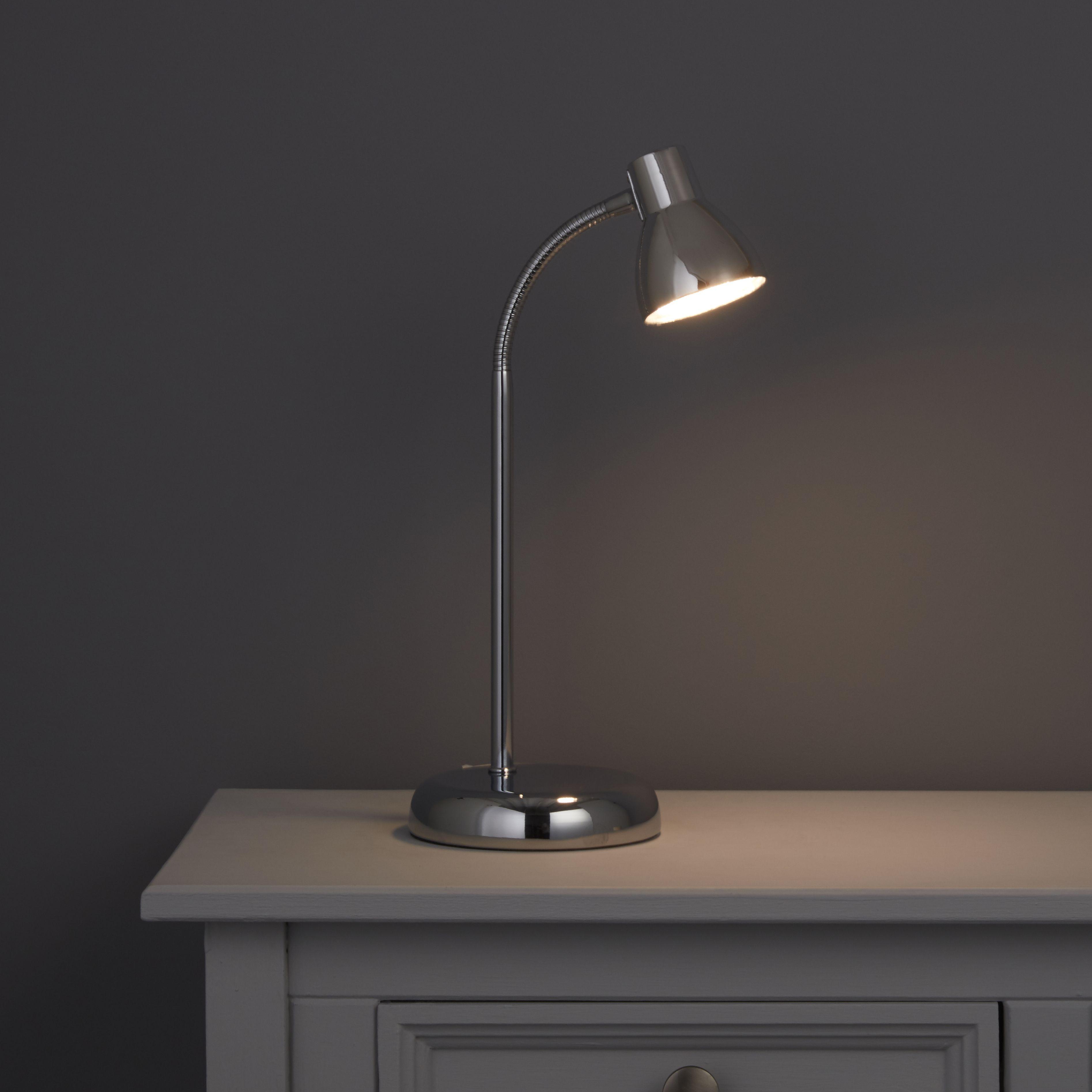 Light Lamps: Daphne Goose Neck Chrome Effect Desk Lamp