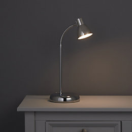 Daphne Goose Neck Chrome Effect Desk Lamp